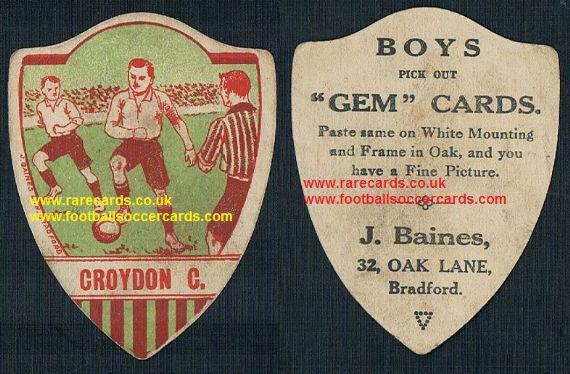 1914 Baines Gem football trade card Croydon Common FC Crystal Palace fans interest